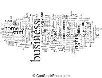 concetto affari, fondo, testo, imprenditore, wordcloud, casa
