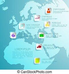 concetto, affari globali, infographic