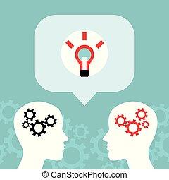 concetto, affari, idee, comunicazione, luminoso, conversation., uomo