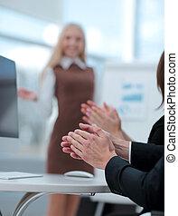 concetto, affari, immagine, sfocato, presentation., tuo