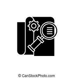 concetto, affari, intelligenza, isolato, illustrazione, segno, fondo., vettore, nero, icona, simbolo