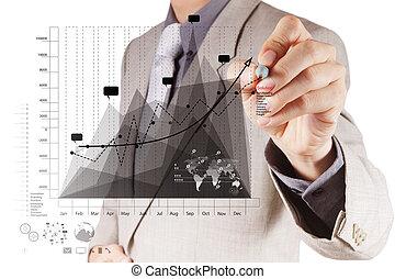 concetto, affari, lavorativo, moderno, mano, computer, uomo affari, nuovo, strategia