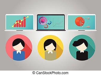 concetto affari, lavoro squadra, riunione, e, brainstorm