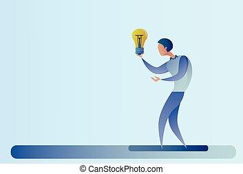 concetto, affari, luce, astratto, idea, creativo, nuovo, bulbo, presa, uomo