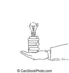 concetto, affari, luce, astratto, idea, titolo portafoglio mano, bulbo, nuovo, creativo, uomo