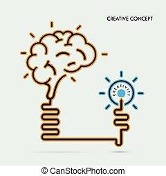 concetto affari, luce, concept., coperchio, idea, creativo, cervello, idea, aviatore, disegno, opuscolo, manifesto, bulbo, educazione