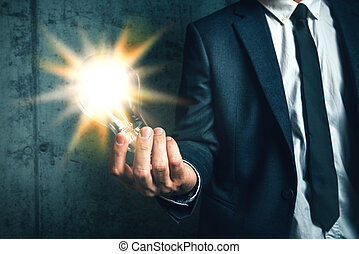 concetto, affari, luce, creatività, presa a terra, uomo affari, ha