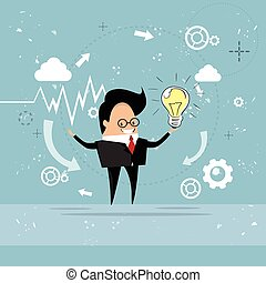 concetto, affari, luce, idea, bulbo, nuovo, presa, uomo