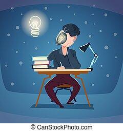 concetto, affari, luce, idea, faccia, posto lavoro, nuovo, bulbo, uomo