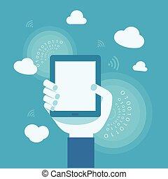 concetto, affari, nuvola, internet