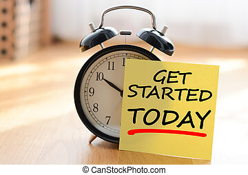 concetto, affari, orologio, allarme, esso, tuo, inizio, proprio, messaggio, palo, oggi