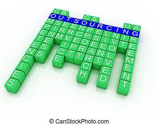 concetto, affari, outsourcing, illustrazione,...