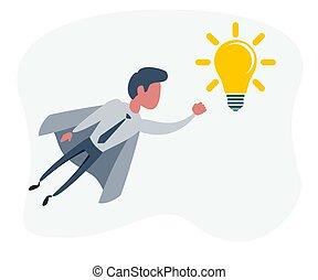 concetto affari, presa a terra, lightbulb., uomo affari, creativo, idea, superhero