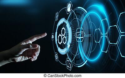 concetto, affari, processo, sistema, automazione, tecnologia, software