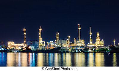 concetto, affari, raffineria, olio, logistico, crepuscolo