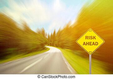 """concetto, affari, """"risk, -, ahead"""", segno"""