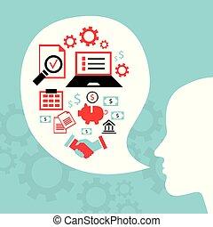 concetto, affari, riuscito, idee, luminoso, thought.