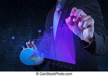 concetto, affari, schermo, grafico, virtuale, mano,  computer, tocco, uomo affari, disegno