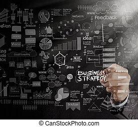 concetto, affari, schermo, strategia,  computer, tocco, mano, disegno