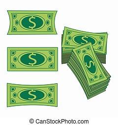 concetto, affari, separato, semplice, esso, illustrazione, fondo., americano, vettore, facile, dollar., bianco, profit., icona