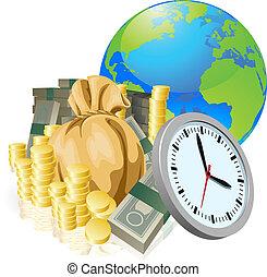 concetto, affari, soldi, globo, tempo, mondo