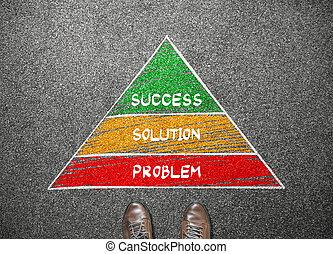 concetto, affari, successo, piramide, soluzione, prospiciente, stare in piedi, uomo affari, problema