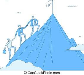 concetto, affari, successo, riuscito, cima, uomini, su, winner., raggiungimento, vettore, direzione, squadra, andare, arrampicarsi, mountain., condottiero, realizzazione