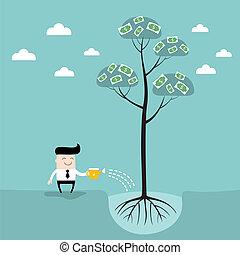 concetto, affari, successo, soldi, irrigazione, albero, uomo affari