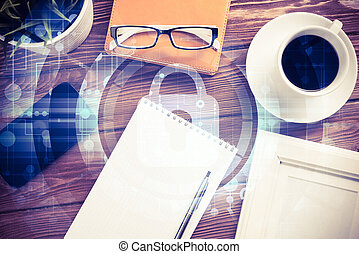 concetto, affari, tavoletta, schermo,  PC, Posto lavoro, sicurezza