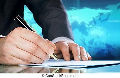 concetto, affari, uomo affari, mano, internazionale, pen.