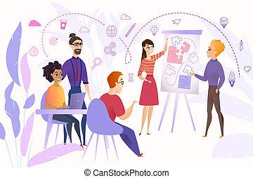 concetto, affari, vettore, brainstorming, squadra, cartone animato