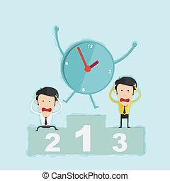 concetto, affari, vincere, podio, amministrazione, tempo, uomo