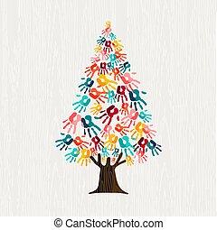 concetto, aiuto, persone, albero, comunità, mano