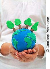 concetto, albero, ambiente, ecologia, argilla, mondo