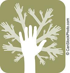 concetto, albero, mani