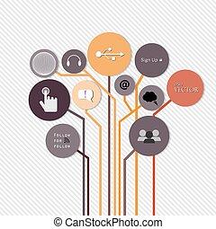 concetto, albero, moderno, idea, crescita, disegno, disposizione, creativo, sagoma, infographics, disinserimento, sito web, essere, usato, illustrazione, orizzontale, numerato, grafico, linee, vettore, lattina, bandiere, o
