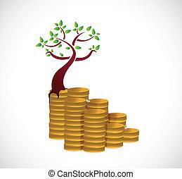 concetto, albero, monetario, illustrazione, crescita, disegno