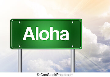 concetto, aloha, segno, verde, strada