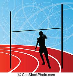 concetto, alto, donna, silhouette, illustrazione, salto, vettore, fondo, attivo, atletica, sport, ragazza