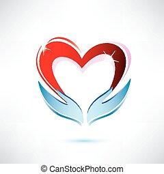 concetto, amare cuore, condivisione, vettore, tenere mani, icona