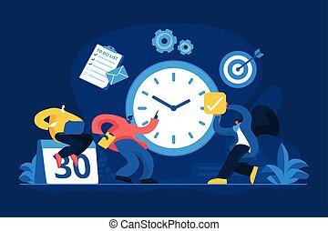 concetto, amministrazione, tempo, vettore, illustrazione