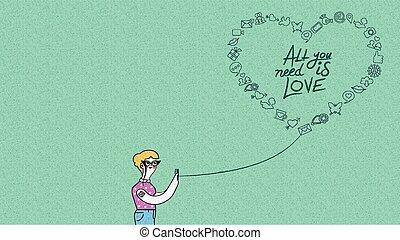 concetto, amore, donna telefono, disegno, internet
