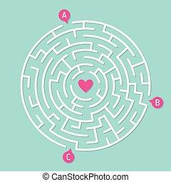 concetto, amore, labirinto, game., labirinto, rotondo