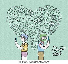 concetto, amore, media, internet, disegno, sociale