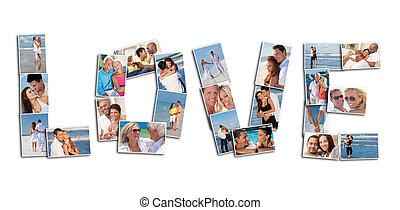 concetto, amore, persone, fotomontaggio, insieme, couples
