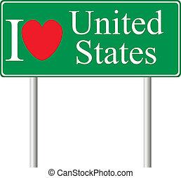 concetto, amore, stati, segno, unito, strada