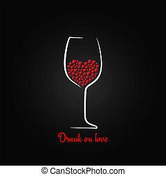 concetto, amore, vetro, disegno, fondo, vino