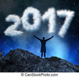 concetto, anno nuovo, 2017.