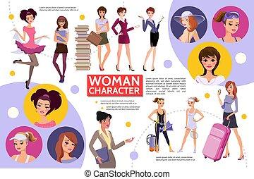 concetto, appartamento, donna, infographic, caratteri