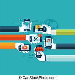 concetto, appartamento, smartphone, servizio